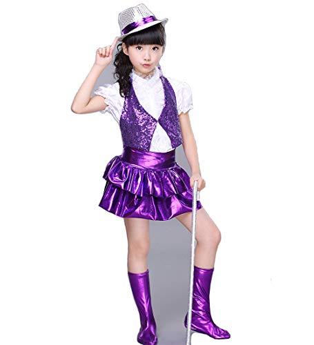 ダンス衣装 ガールズ キッズ ダンス セットアップ ジャズダンス 衣装 ベスト スパンコール チア スカート 半袖 衣装 チアガール チアダンス 110 120 130 140 150 (PURPLE, 120)