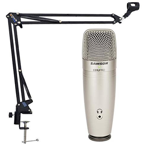 Samson C01U Pro - Micrófono condensador USB y trípode articulado Keepdrum NB35