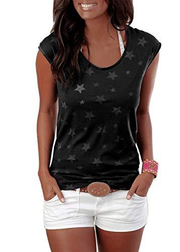 Lantch  Damen T-Shirt Top Sommer Basic Kurzarm Shirts Baumwoll Tee Freizeit Oberteile, XL, Schwarz