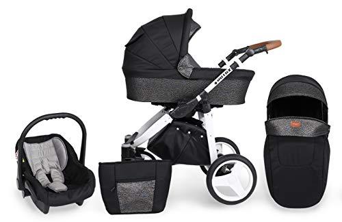 KUNERT Kinderwagen ROTAX Sportwagen Babywagen Autositz Babyschale Komplettset Kinder Wagen Set 3 in 1 (Schwarz mit Blitz, Rahmenfarbe: Weiß, 3in1)