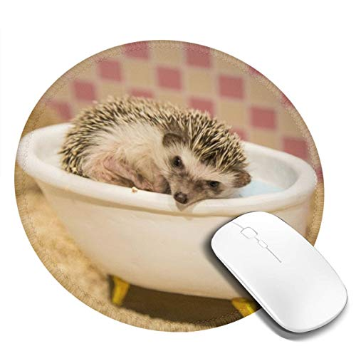 Round Mouse Pad - Hedgehog Bath in Bathtub Non-Slip Rubber Circular Mice Mat - Stitched Edges Mousepad - Suitable for Home Office Workspace