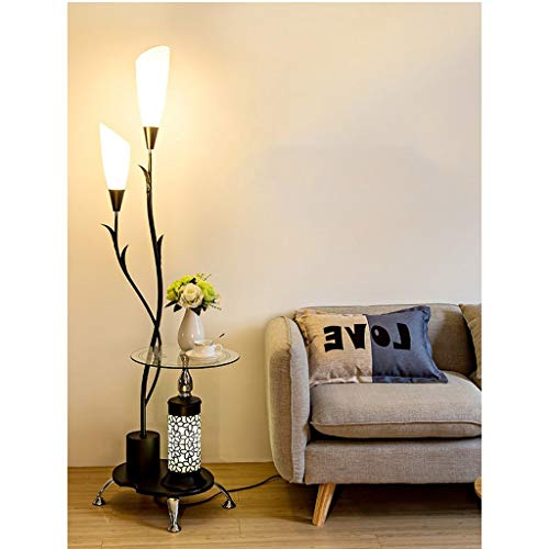 Boom Vloerlampen met End Tabel 2 Light White Acryl lampenkap en glazen planken Metalen decoratie Gooseneck Stands Lamp for Woonkamer Slaapkamer (Color : Black)
