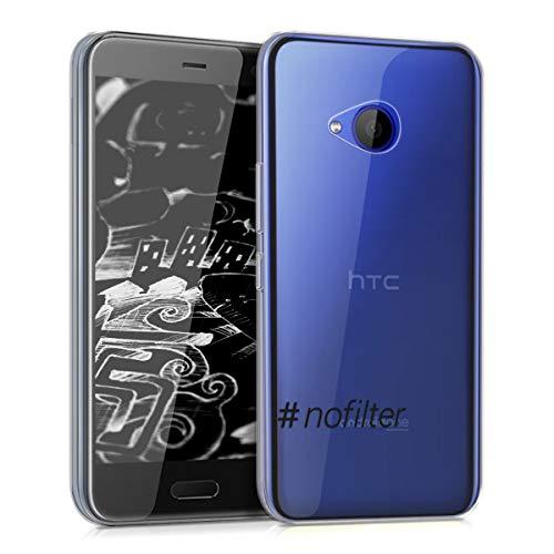 kwmobile Hülle kompatibel mit HTC U11 Life - Handyhülle - Handy Hülle Hashtag Nofilter Schwarz Transparent