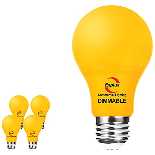 Explux Dimmable A19 Yellow LED Bug Light Bulbs, High Output 60W Equivalent, Sleeping-aid Bedroom Light, 4-Pack