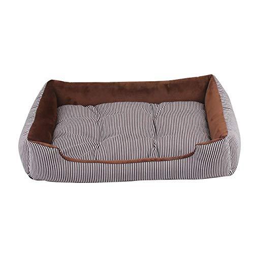 1 cama para perros para 4 estaciones de la casa, suave colchoneta para cachorro, cálida cama de felpa, para mascotas pequeñas, medianas y grandes (color: café, tamaño: 45 x 28,5 x 12 cm).