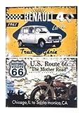 Udc Edition du sur – Juego de 2 placas decorativas de cartulina de Ruta 66' y 'Renault 4L – 39 x 27 cm