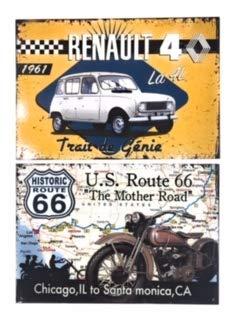 """Udc Edition du sur – Juego de 2 placas decorativas de cartulina de Ruta 66"""" y """"Renault 4L – 39 x 27 cm"""