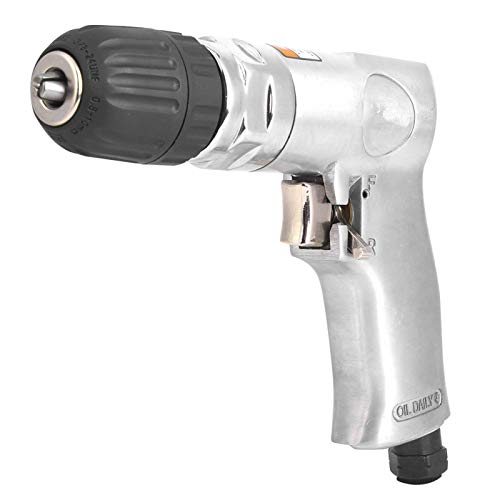 Pneumatic Drill, Air Drill 3/8in Self-Locking Reversible Switch Pistol Type Hand Pneumatic Tool