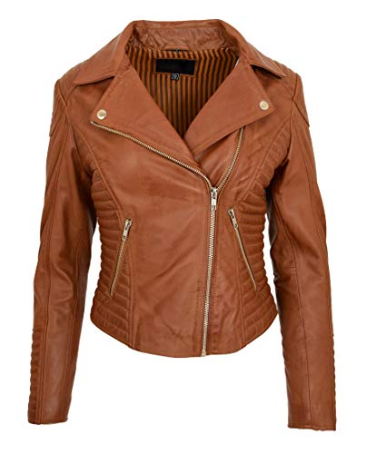 Damen Designer Leder Biker-Jacke Weiches Hellbraun Ausgestattet Gesteppt Reißverschluss Mantel Bonita (XXL - EU 44)