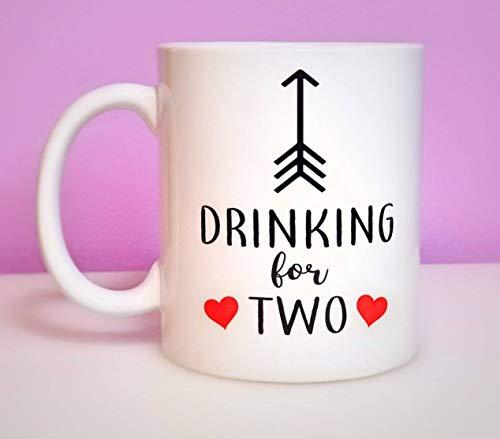 Bere per due tazze da caffè, Gravidanza rivelare tazze, nuove idee di gravidanza, baby shower idee regalo, bere per due, mangia
