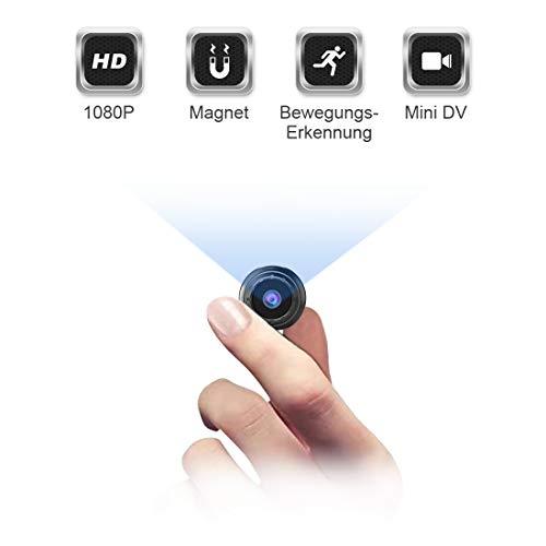 Mini Kamera Bewegungserkennung, NIYPS Full HD 1080P Mini Cam, Mikro Akku Überwachungskamera mit Infrarot Nachtsicht und Magnet, Kabellose Kleine Kamera mit Aufzeichnung für Innen und Aussen