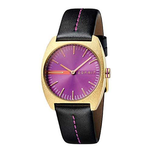 Esprit ES1L035L0035 Spectrum Purple Black Uhr Damenuhr Lederarmband vergoldet 5 bar Analog Schwarz