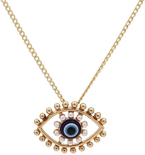 CCXXYANG Co.,ltd Necklace Turkey Blue Eyes Pearl Alloy Pendent Necklace for Men Women Medusa Eye Gold Chain Evil Eyes Collar Necklace