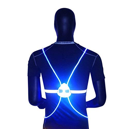 360 Ciclismo flash LED de conducción reflectante chaleco de alta visibilidad Noche Correr Ciclismo Montar actividades al aire libre Chaleco seguridad de la bici (Color : Blue)