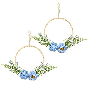 LSME Peony Floral Wooden Hoop Wreath Set of 2 Blue with Silk Fern Plant Greenery Leaves for Home Wedding Arch Backdrop Wall Hanging Decoration