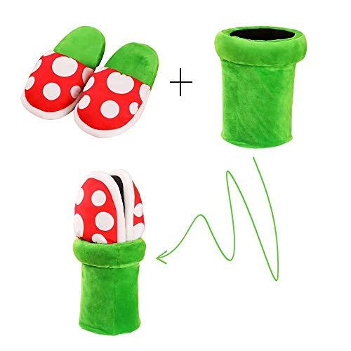 RuanYF Kannibalen Pflanzen Piranha Blume Plüsch Hausschuhe Weihnachten Cosplay mit Pipe Pot Anzug für Home Wear Hausschuhe für Frauen & Männer