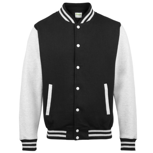 AWDis Hoods Kids varsity jacket Jet Black / Heather Grey 78