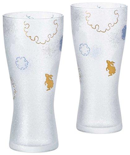 アデリア ビールグラス ゴールド 310ml プレミアムニッポンテイスト雪兎 ビアグラス(泡づくり機能付) ペアギフト 日本製 S6272