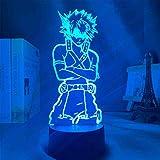 Lámpara de acrílico 3D Anime My Hero Academia Dabi Led Light para decoración de dormitorio, manga fresca regalo para él RGB colorido noche luz (color: 7 colores táctil+remoto)