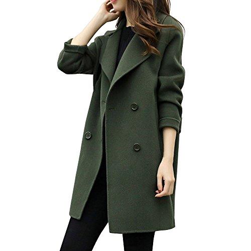 ESAILQ Damen Outwear Parka Cardigan Schlank Mantel Herbst Winter Jacke Lässige (S,Armeegrün)