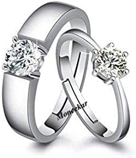 b836a3c829 Moneekar Jewels 925 Sterling Silver Plated Couple Promise Rings Combo For  Women & Men