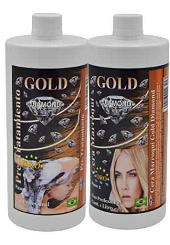 Gold DIAMOND — Cera Marroqui — KIT de Alisado Brasileño, tratamiento profesional a base de Keratina, vitaminas y extractos naturales, alisa al 100% los cabellos zambos y afros
