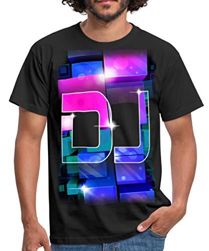 Spreadshirt DJ Disc Jockey Rétro Cubes T-Shirt Homme, S, Noir