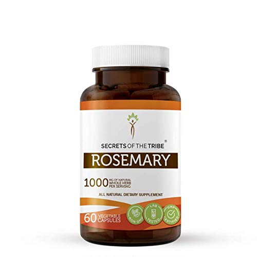 Rosemary 60 Capsules, 1000 mg, Organic Rosemary (Rosmarinus Officinalis) Dried Leaf (60 Capsules)