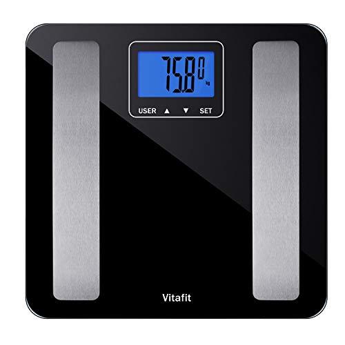 Vitafit Báscula Grasa Corporal con vidrio templado, Báscula de Baño Digital 180kg y Análisis del Cuerpo,Pantalla Grande LCD,elegante negro