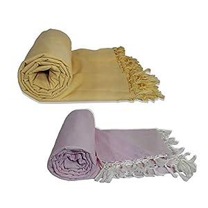Riyashree Organic Cotton Silky Soft Bhagalpuri Dull chadar Blanket & Duvet ( 53*96 in ) Combo Pack of 2 Dull 03 04