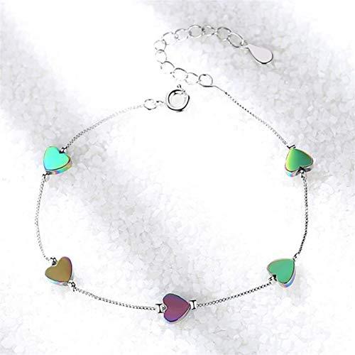 efsdhg Damen-Armband aus 925er Silber, Retro-Stil, schlicht, farbige Herz-Armbänder