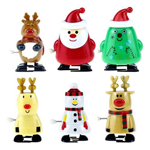 Toyvian 6 Stücke Aufziehspielzeug Rentier Pinguin Schneemann Weihnachtsmann Figur Aufziehfigur Weihnachten Deko Figuren Uhrwerk Spielzeug Geschenk für Baby Kinder Lustiges Spielzeug