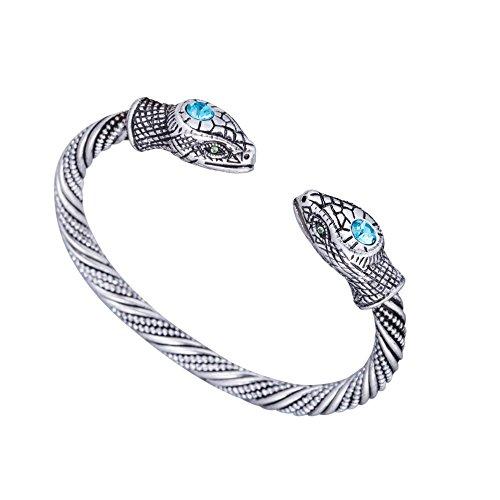 Skyrim Jormungandr Bracciale vintage con serpente, stile indiano, per uomo e donna e Lega, colore: Argento anticato., cod. unknown