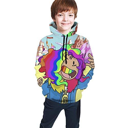 maichengxuan 6ix9ine Kapuzenpullover mit Kapuze, Unisex, für Teenager, Jugendliche, mit Regenbogenfarben Gr. 7-8 Jahre, Schwarz