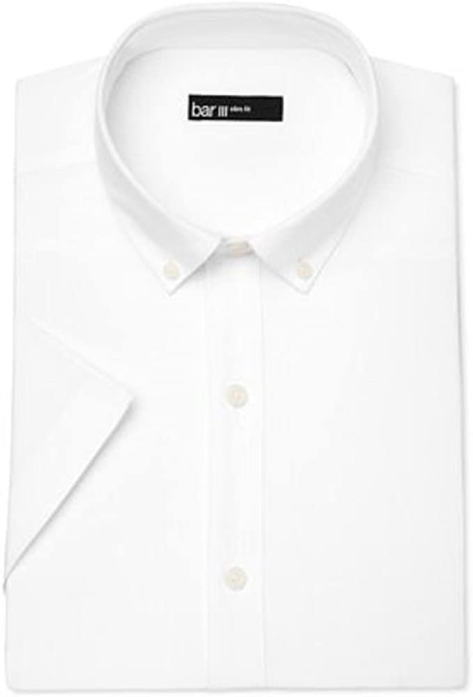 Bar III Men's Oxford Button Up Dress Shirt White Short Sleeve Size M (15-15H)