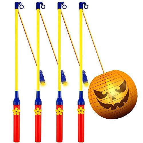 4 Pack Laternenstab mit LED für St Martin, LED Elektronischer Laternenstab für Kinderpartys, Kindergarten, Kostümpartys, Halloween, Weihnachten und Mehr