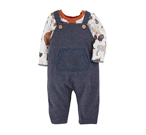 Mud Pie Baby Boys  Farm Animals Overall Set  Blue  9-12 Months
