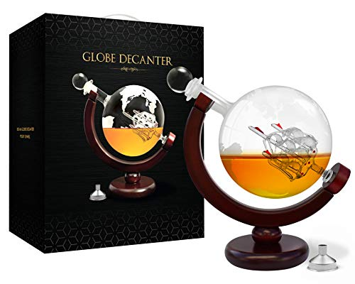 Whiskey Decanter Globe Decanter Tequila Decanter Ship Decanter Whiskey Gift Sets for Men with Lead Free World Etched Glass Globe and Pour Funnel for Wine Liquor Bourbon Scotch Alcohol Drinks 850 ml