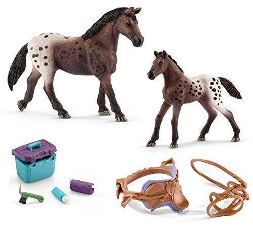 4in1-SET Schleich Pferde Horse Club - Appaloosa Stute mit Fohlen + Sattel Zaumzeug und Pflegeset 13861 + 13862 + 42165 + 42366