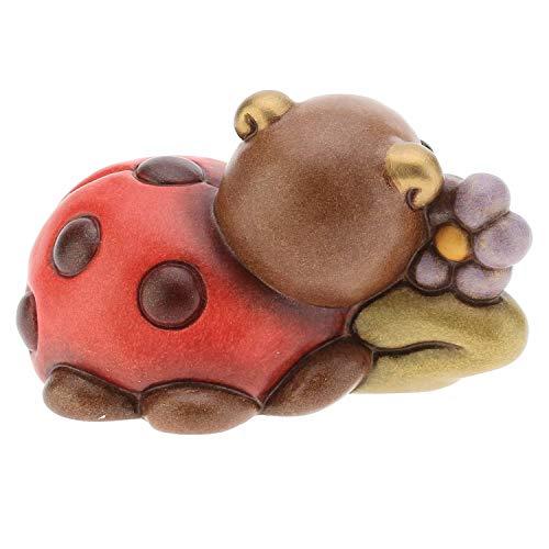 THUN® - Mini Coccinella Portafortuna con Fiore - Animali Soprammobile da Collezione - Ceramica - I Classici