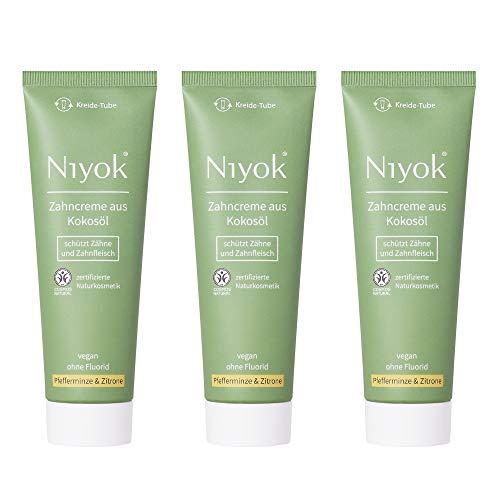 Niyok® Kokosöl Zahnpasta ohne Fluorid und Mikroplastik Plastik | Bio Naturkosmetik Sensitiv auch für Kinder | Xylit Herbal | natürliche Zahncreme VEGAN | Pfefferminze & Zitrone
