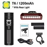 Bicicleta de la luz 3200mAh kit de luz de bicicletas P90 P50 L2 linterna for la bicicleta T6 USB recargable batería de ciclo ligero Como banco de la energía-P50_3200Mah (Color : T6 1200mah Set)