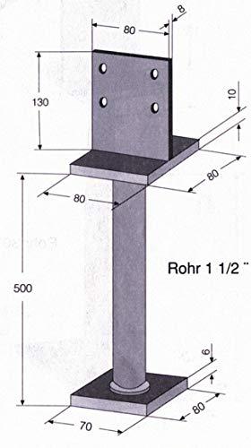HBL 405700 Pfostenträger mit Schwert auf Standfuß zum Einbetonieren