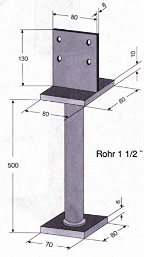 GAH-Alberts 215521 T-Pfostentr/äger feuerverzinkt Steggr/ö/ße: 130 x 80 mm zum Einbetonieren