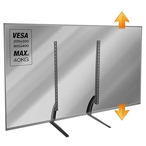 RICOO Fernseher-Ständer TV-Halterung Stand-Fuß Höhenverstellbar (FS502) Universal Fernsehständer für 30-65 Zoll (bis 40-Kg, Max-VESA 800x400) Flach Curved Bildschirm