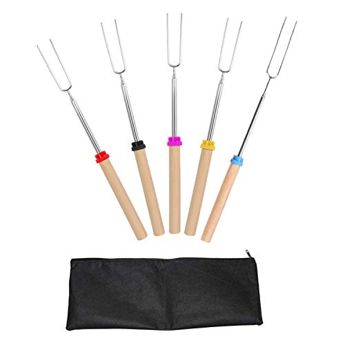LHQ-HQ 5pack Marshmallow asación Sticks con mango de madera extensible Forks telescópicos de pinchos for la hoguera Firepit y salchicha barbacoa, 32 pulgadas