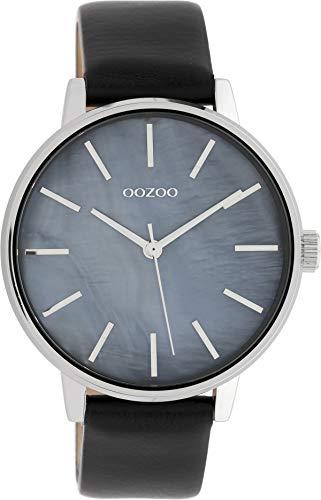 Oozoo Reloj de mujer con esfera de nácar y correa de cuero de 42 mm, nácar y negro C10119