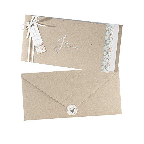 Weddix Vintage Einladungskarten Laureen zur Hochzeit mit Blumen, 3 Stück Blanko Hochzeitseinladungen mit Umschlag u Siegeletikett