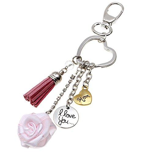 Deesos Portachiavi Regalo festa della mamma, I Love Mom Portachiavi ciondolo cuore rosa, miglior regalo per il compleanno della mamma