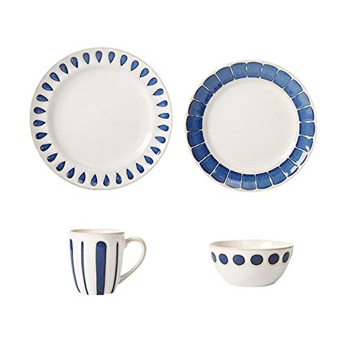 platos llanos Cena Placas Simple Steak Vajilla Cena de Cena Conjuntos 4 piezas de vajilla de cerámica Set para Cereal de ensalada de bistec, placa redonda azul Plato y taza Aperitivo Postre Placa de a